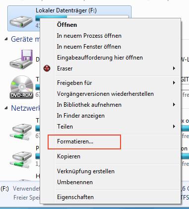 Auswahl Formatieren im Kontextmenü eines Windows-7-Laufwerks