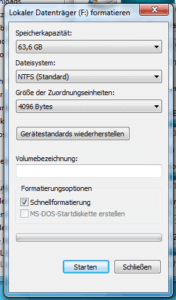 Formatierungs-Dialogfenster in Windows 7