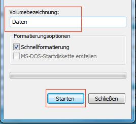 Namen für Datenträger eingeben und Starten klicken