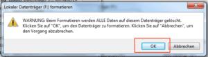 Warnung beim Festplatte formatieren