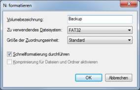 Datentraegerverwaltung Formatieren