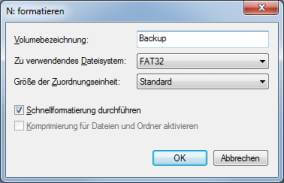 Datenträgerverwaltung Formatieren