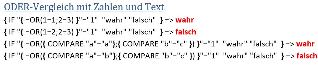 Word - Varianten von ODER-Vergleichen