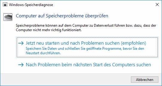 Speichertest mit Windows