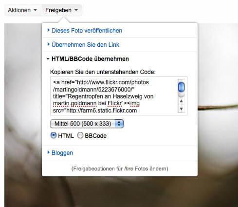 Menue zum Einbinden von Bildern aus Flickr