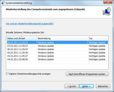 Windows 7 Liste Wiederherstellungspunkte