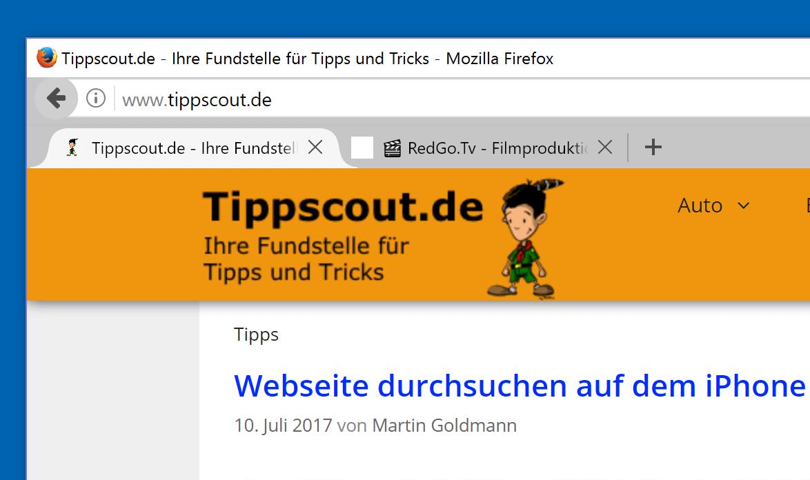 Firefox Tabs unter Adressleiste