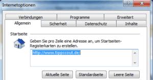 Optionen fuer die Startseite im Internet Explorer 9