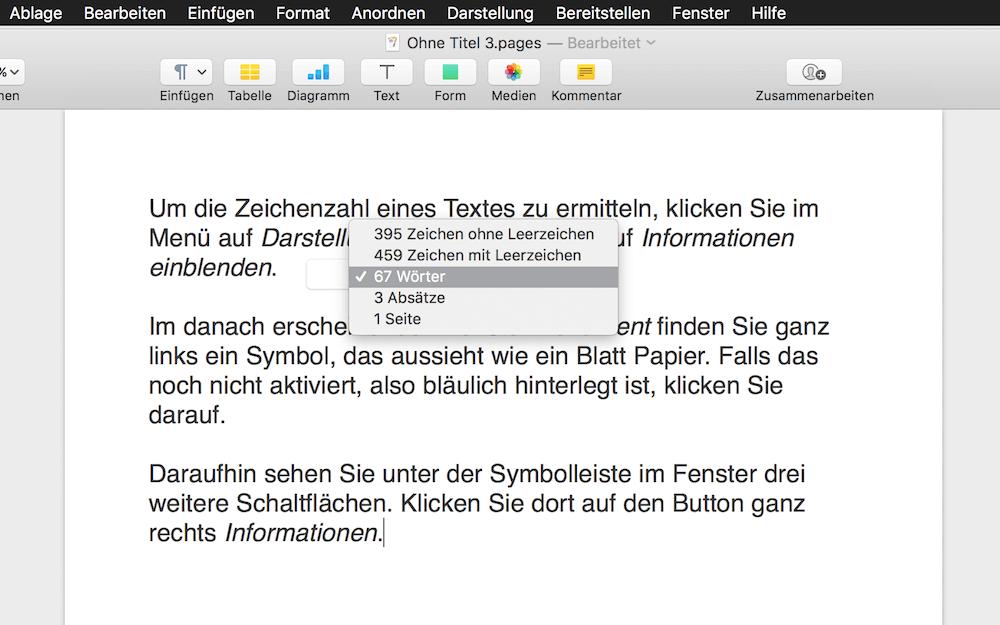 Zeichen und Wörter zählen in Apple Pages