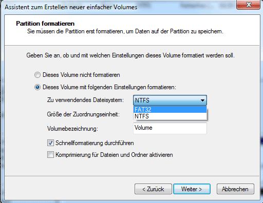Auswahl des Partitionstypen in Windows 7
