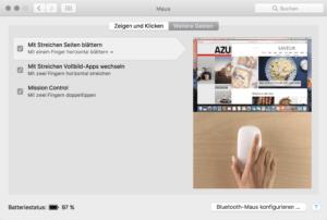 Apple Magic Mouse Umblättern mit Wischen