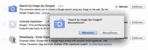 Deinstallations-Dialog für Plugins in Google Chrome
