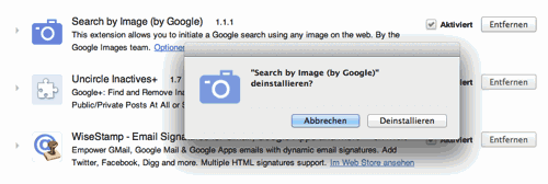 Deinstallations-Dialog für Plugins in Google Chrome