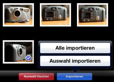 Auswahl von Bildern importieren