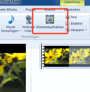 Momentaufnahme aus dem Windows Movie Maker