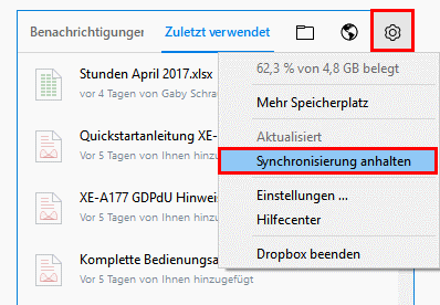 Dropbox Synchronisation anhalten