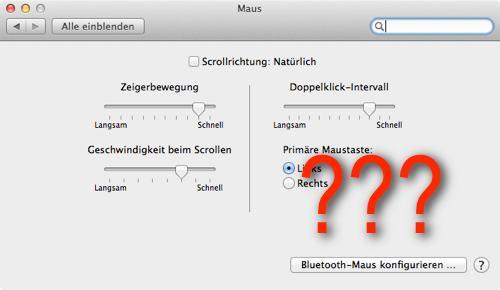 Mauseinstellungen auf dem Mac