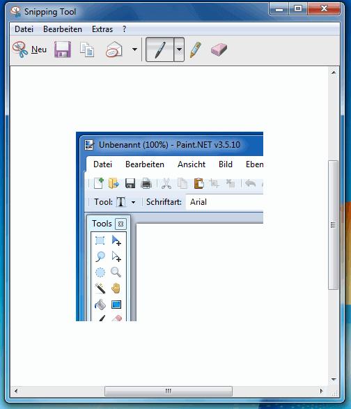 Ein mit dem Snipping Tool angefertigtes Bildschirmfoto