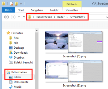 Screenshot-Ordner in Windows