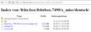 Wiederherstellungsdatei auf dem FTP-Server von AVM