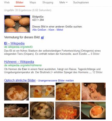 Google Bildersuche Beispielergebnis