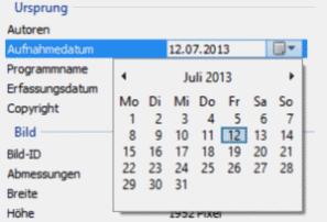 Aufnahmedatum ändern