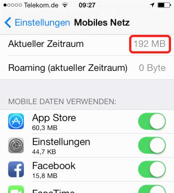 iOS7 Mobiler Datenverbrauch