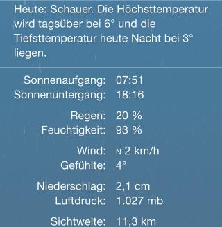 iOS8 Zusatzwetterdaten