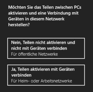 Win8 Netzwerktyp wählen