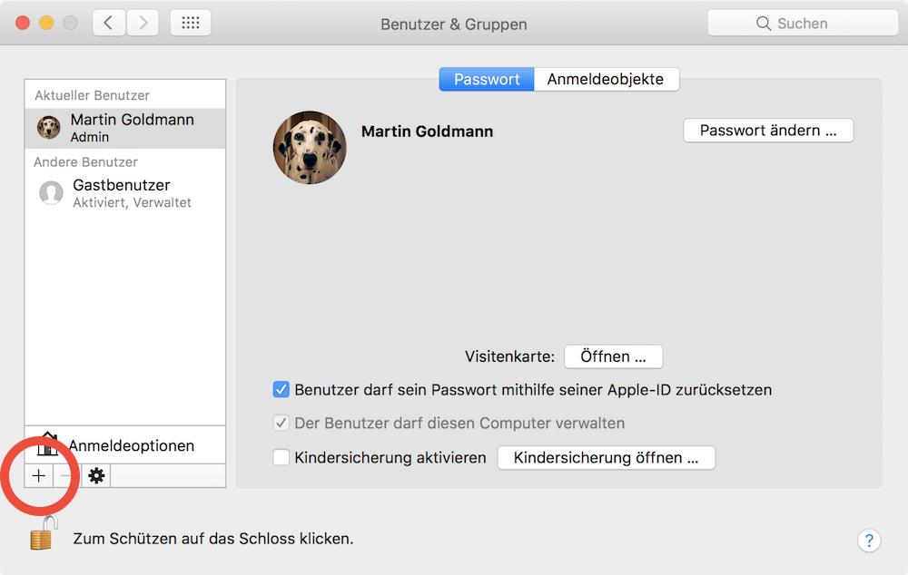 Mac neuen Benutzer anlegen