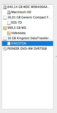 Liste der Laufwerke im Festplatten-Dienstprogramm des Mac