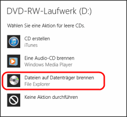 Windows 8.1 Optionen f?r DVD