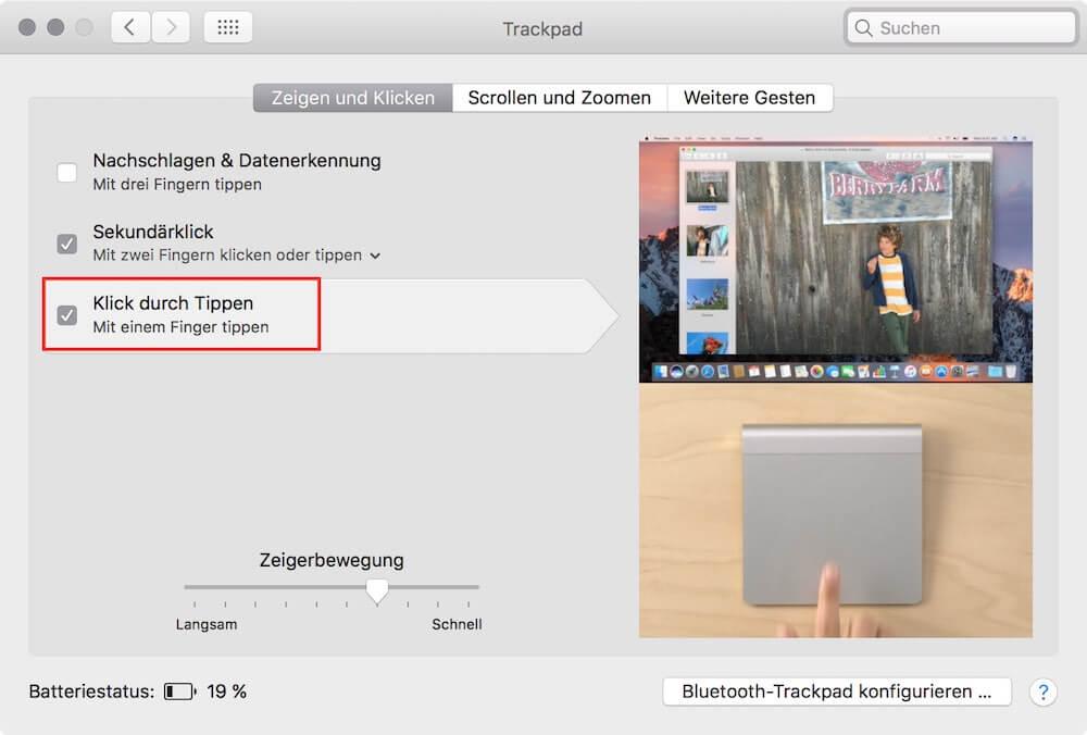 Trackpad antippen statt klicken