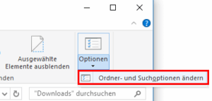 Zu den Ordneroptionen in Windows 10