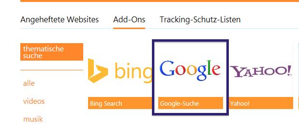 Google auswählen
