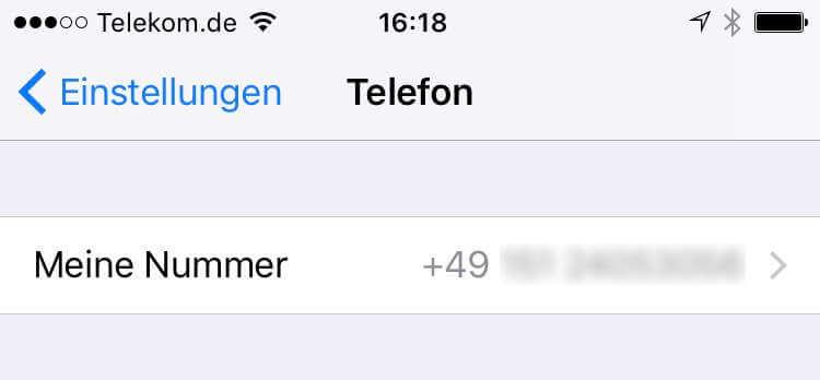 iPhone eigene Telefonnummer Einstellungen