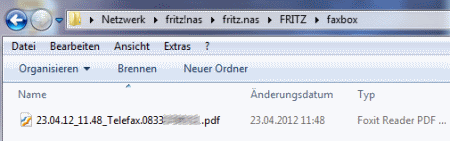 Empfangenes Fax per Fritzbox