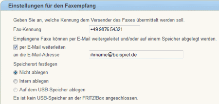 Fritzbox Faxempfang