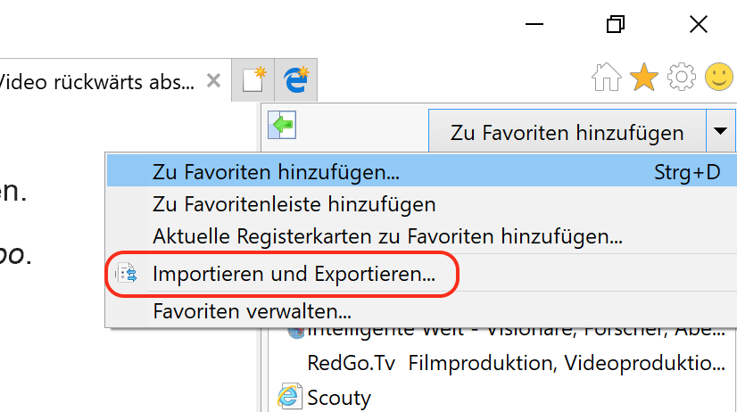 Internet Explorer Favoriten exportieren