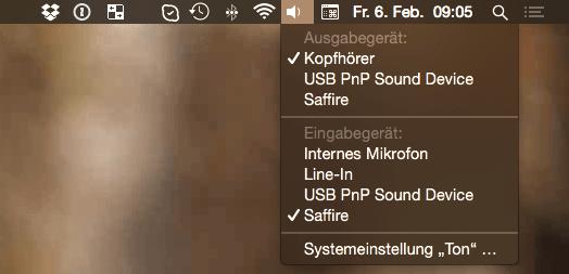Ton-Auswahlmenü auf dem Mac