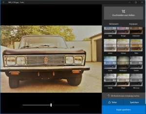Übersicht der Filter in der Fotos-App von Windows