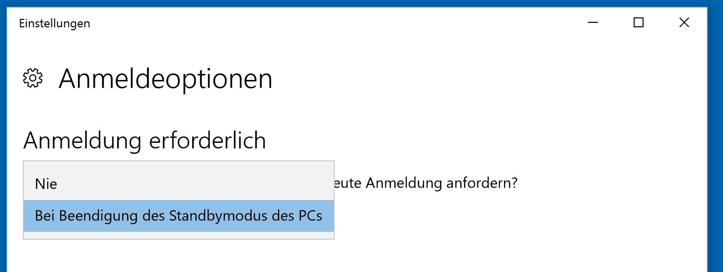 Windows Kennwortabfrage nach Standby deaktivieren