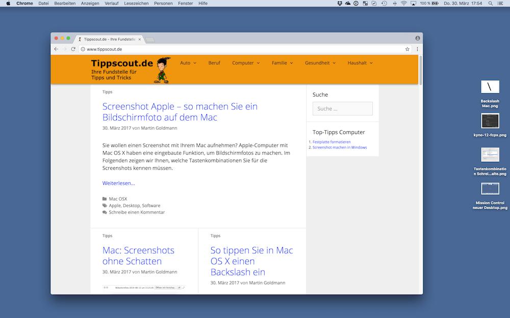 Desktop eines Apple Computers als Screenshot