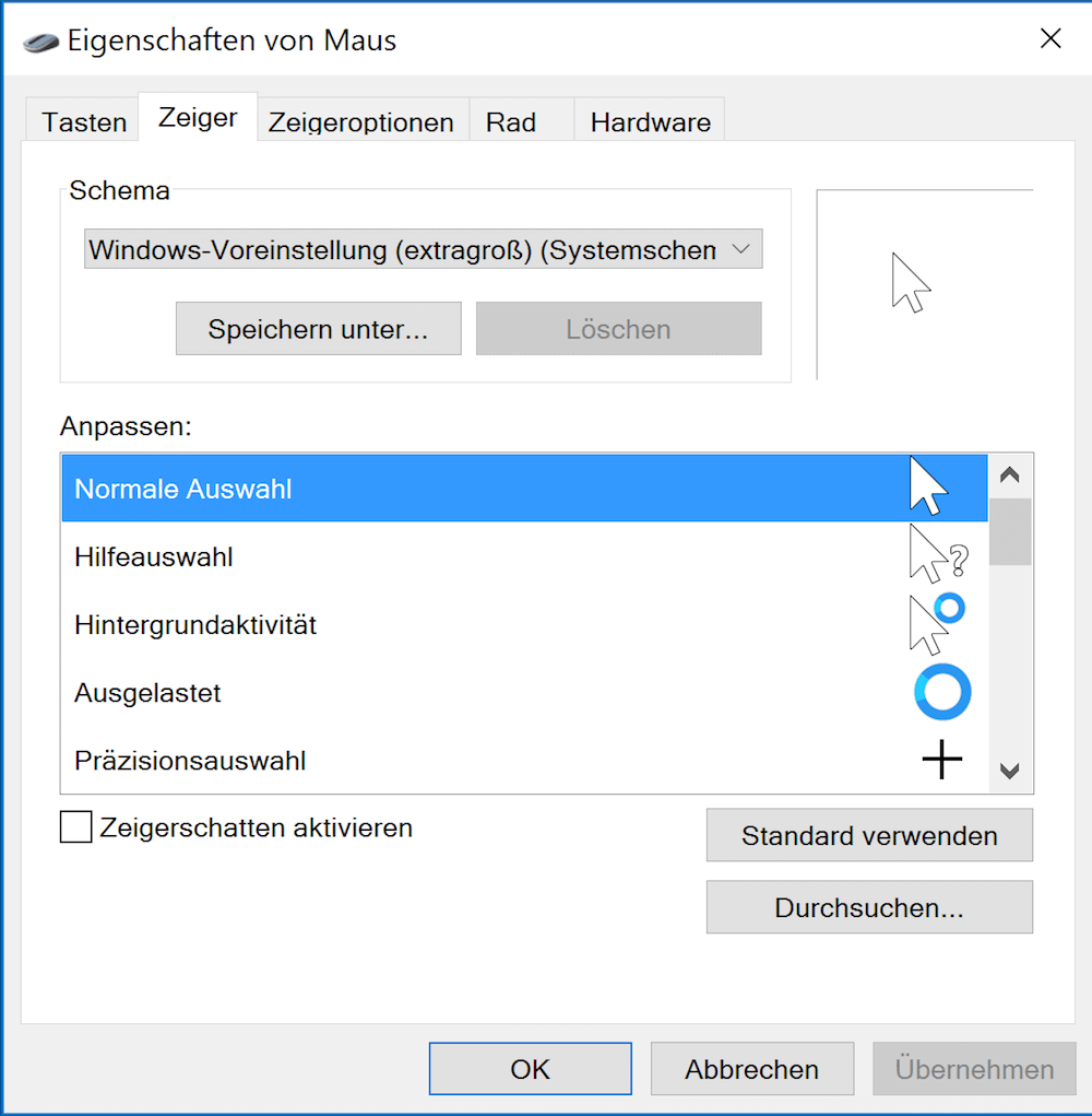 Mauszeiger ändern in Windows