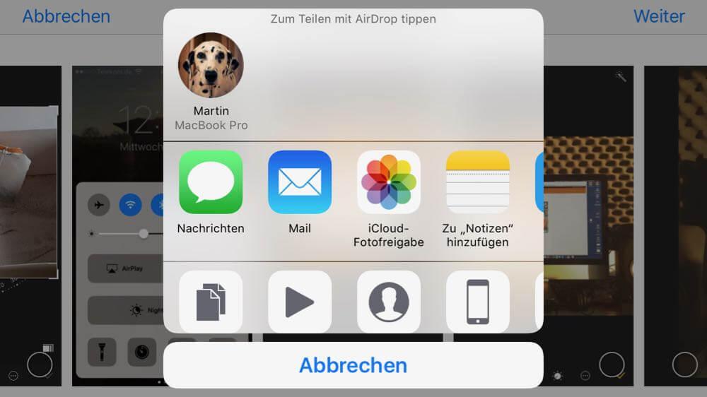 Teilen Menü der Fotos App mit Mail-Symbol