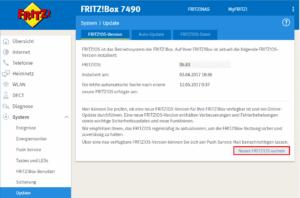 Fritzbox Update der Firmware