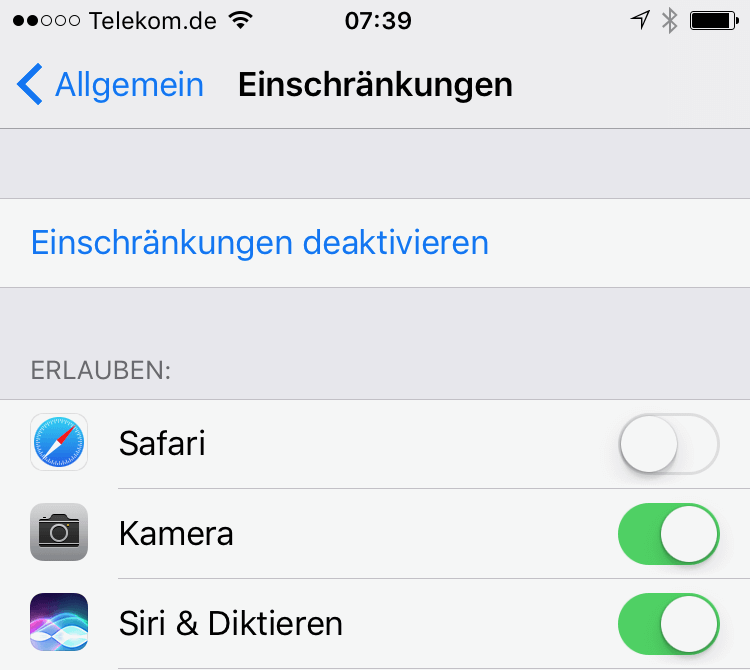 iPhone Apps sperren