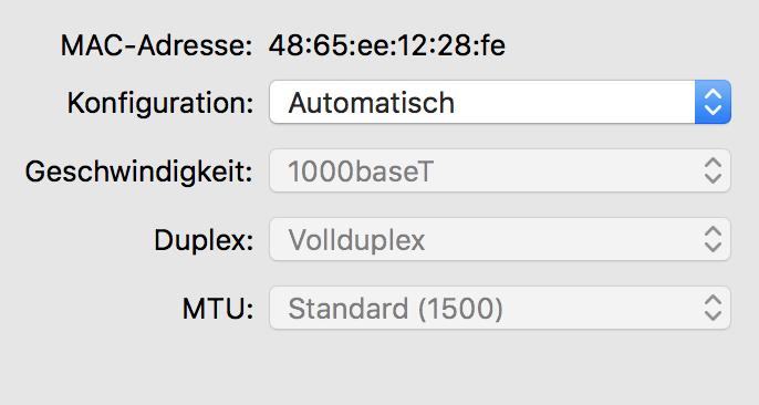 Mac Adresse eines Apple Computers