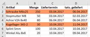 Excel Liefertermin überschritten