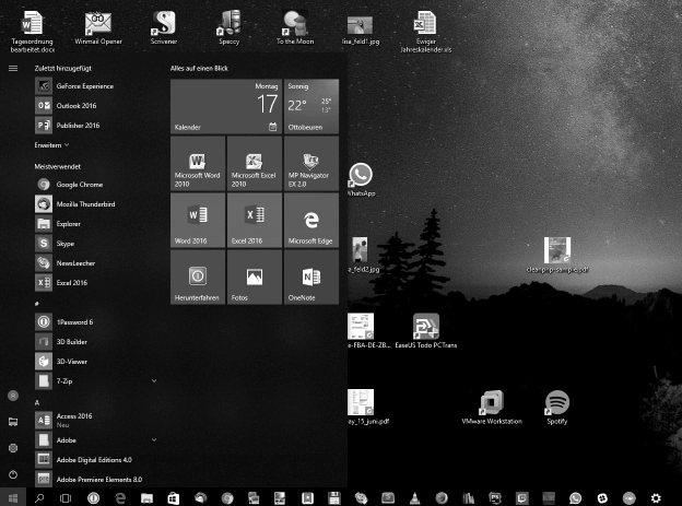 Windows Desktop in grau